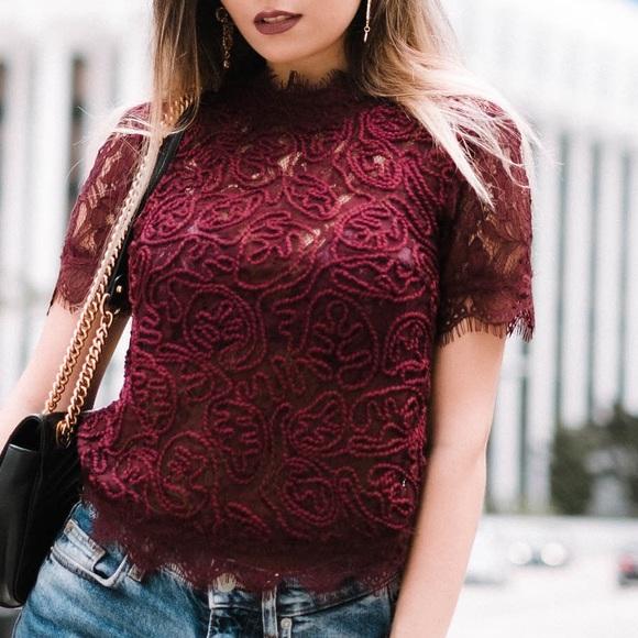 18db9d86a4c8f Zara burgundy lace top. M 5ad93cddd39ca27eaad81317